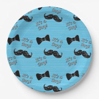 Assiettes En Papier Moustache et plaques à papier de baby shower bleu