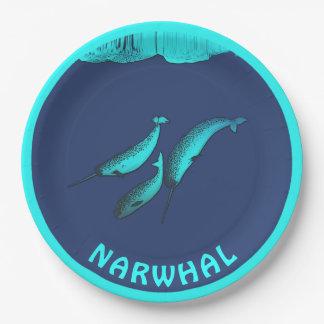 Assiettes En Papier Narwhal sous la glace
