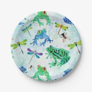 Assiettes En Papier Nature de libellule de grenouilles d'arbre