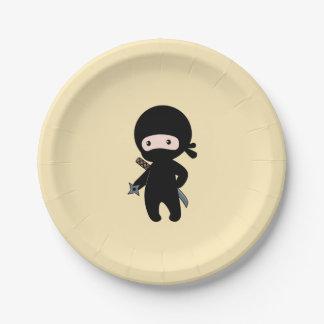 Assiettes En Papier Ninja minuscule tenant l'étoile de lancement sur