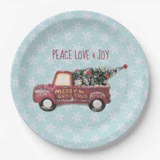 Assiettes En Papier Noël de camion de jouet d'amour et de joie de paix