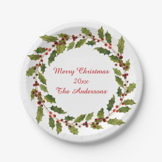 Assiettes En Papier Noël de houx rouge de baies d'aquarelle Joyeux