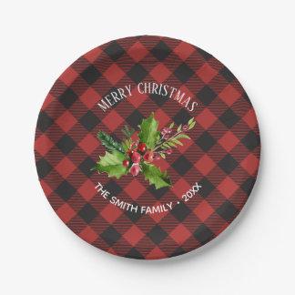 Assiettes En Papier Noël de plaid de Buffalo rouge et noir