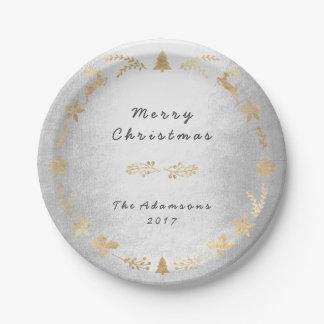 Assiettes En Papier Noël d'or de gris argenté de cottage