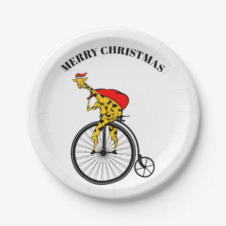 Assiettes En Papier Noël du père noël de girafe