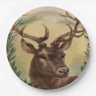 Assiettes En Papier Noël rustique de cerfs communs de mâle de nature