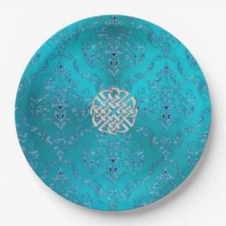 Assiettes En Papier Noeud de Celtic de damassé de turquoise