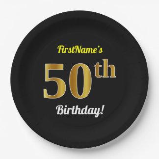 Assiettes En Papier Noir, anniversaire d'or de Faux cinquantième + Nom