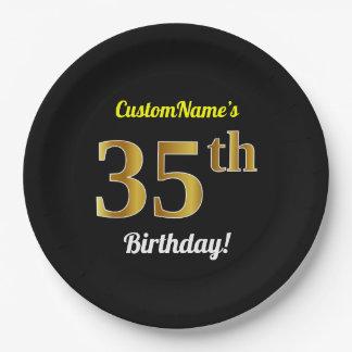 Assiettes En Papier Noir, anniversaire d'or de Faux trente-cinquième +