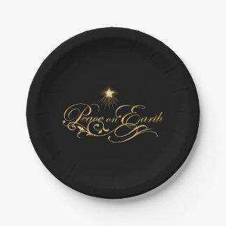 Assiettes En Papier Noir avec la paix fleurie d'or des plaques à