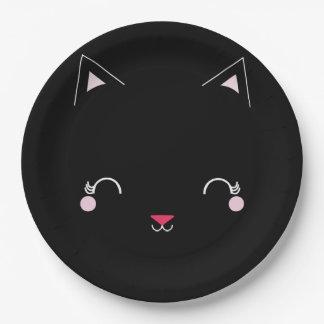 Assiettes En Papier NOIR de plat de fête d'anniversaire de CAT de