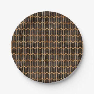 Assiettes En Papier Noir et motif d'abrégé sur or