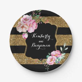 Assiettes En Papier Noir et rayures d'or - mariage floral rose