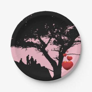 Assiettes En Papier Noir rouge-rose d'arbre de coeur d'arbre