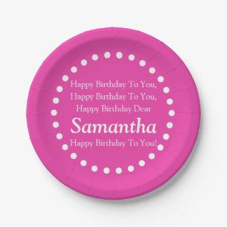 Assiettes En Papier Nom rose et blanc de diva de joyeux anniversaire