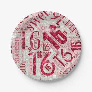 Assiettes En Papier Nuage ID265 rouge de mot d'étincelle de sweet