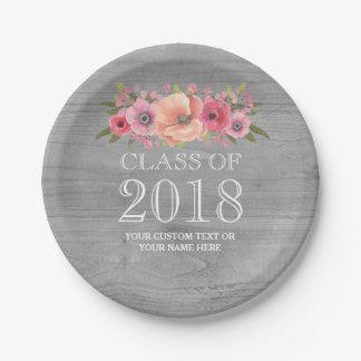 Assiettes En Papier Obtention du diplôme florale 2018 d'aquarelle rose