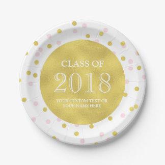 Assiettes En Papier Obtention du diplôme rose 2018 de confettis d'or