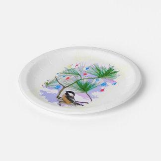 Assiettes En Papier Oiseau de Chickadee dans des plaques à papier