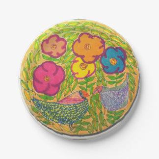 Assiettes En Papier Oiseaux de fleur