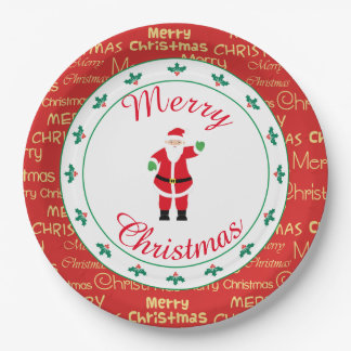 Assiettes En Papier Ondulation de Père Noël de Joyeux Noël