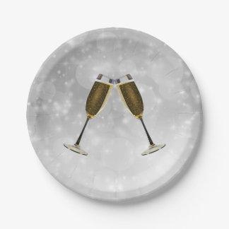 Assiettes En Papier Or de célébration en verre de Champagne sur