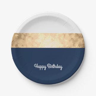 Assiettes En Papier or élégant de faux, bleu marine, rayures blanches