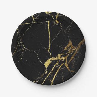 Assiettes En Papier or et plaque à papier de marbre de noir
