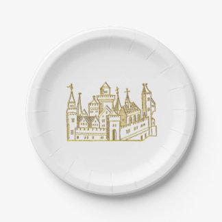Assiettes En Papier Or héraldique vintage de Faux de crête du château