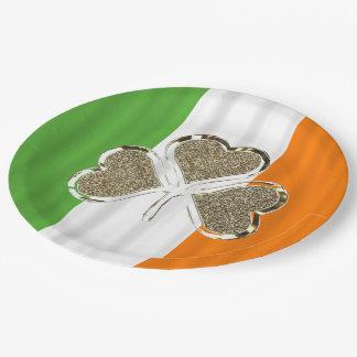 Assiettes En Papier Or irlandais de l'Irlande de trèfle de drapeau de