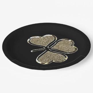 Assiettes En Papier Or irlandais de l'Irlande de trèfle de symbole de