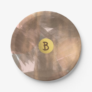 Assiettes En Papier Or moderne chic en bronze de monogramme de pêche