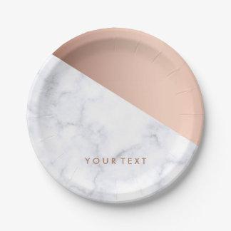 Assiettes En Papier or rose de marbre blanc géométrique élégant de