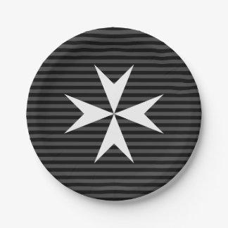 Assiettes En Papier Ordre blanc médiéval de la croix | de St John