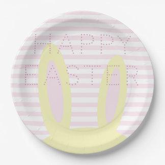 Assiettes En Papier Oreilles roses de Pâques | et jaunes mignonnes