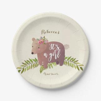 Assiettes En Papier ours de région boisée de baby shower c'est une