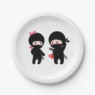 Assiettes En Papier Paires de Ninja, un garçon et une fille