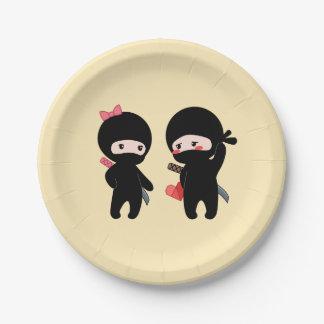 Assiettes En Papier Paires de Ninja, un garçon et une fille sur le