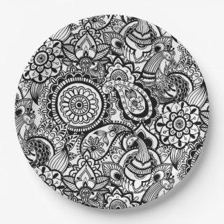 Assiettes En Papier Paisley floral blanc noir mignon