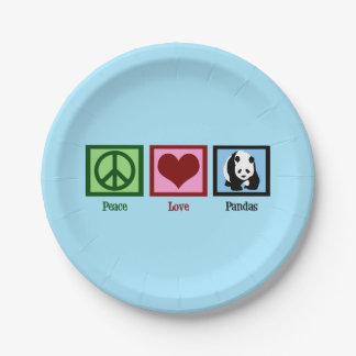 Assiettes En Papier Pandas d'amour de paix