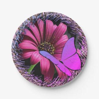 Assiettes En Papier Papillon sur la marguerite