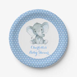 Assiettes En Papier Partie bleue de baby shower d'éléphant de garçon