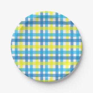 Assiettes En Papier Partie bleue et jaune chic de contrôles