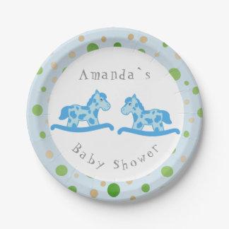 Assiettes En Papier Partie de baby shower jumelle de garçon de cheval