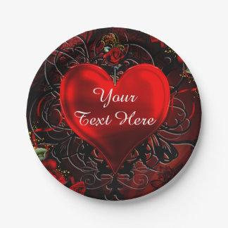 Assiettes En Papier Partie noire et rouge de coeur floral ornemental