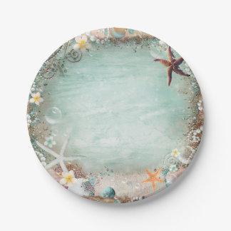 Assiettes En Papier Partie pour la plage élégante d'étoiles de mer et