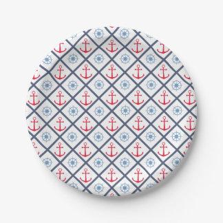 Assiettes En Papier Partie rouge nautique de roue de bateau d'ancre de
