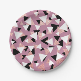 Assiettes En Papier Parties scintillantes roses d'or de triangles