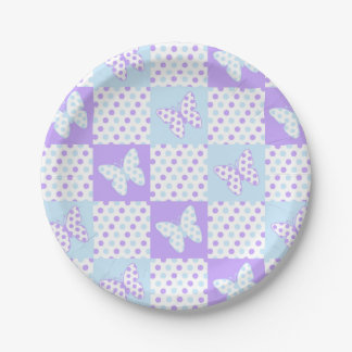 Assiettes En Papier Patchwork bleu pourpre de point de polka de