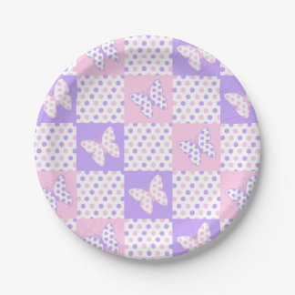Assiettes En Papier Patchwork rose pourpre de point de polka de